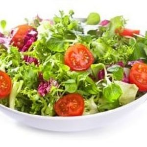 15362557 - set with different salads on white background